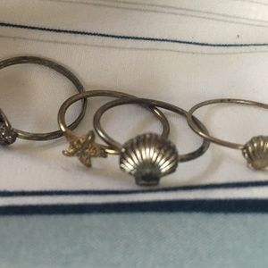 Urban Outfitters Gold Ocean Seashells Mixed Rings